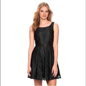 LC Lauren Conrad black lace dress with belt